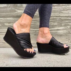 Shoes - dusica dusica black leather wedges size 8